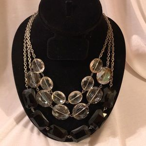 New Multi layered crystal necklace